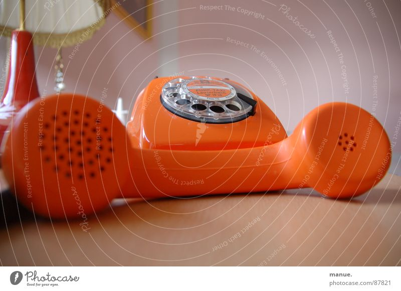 Beautiful Calm Colour To talk Orange Design Telephone Retro Lie Decoration Past Speech Seventies To call someone (telephone) Connect Language