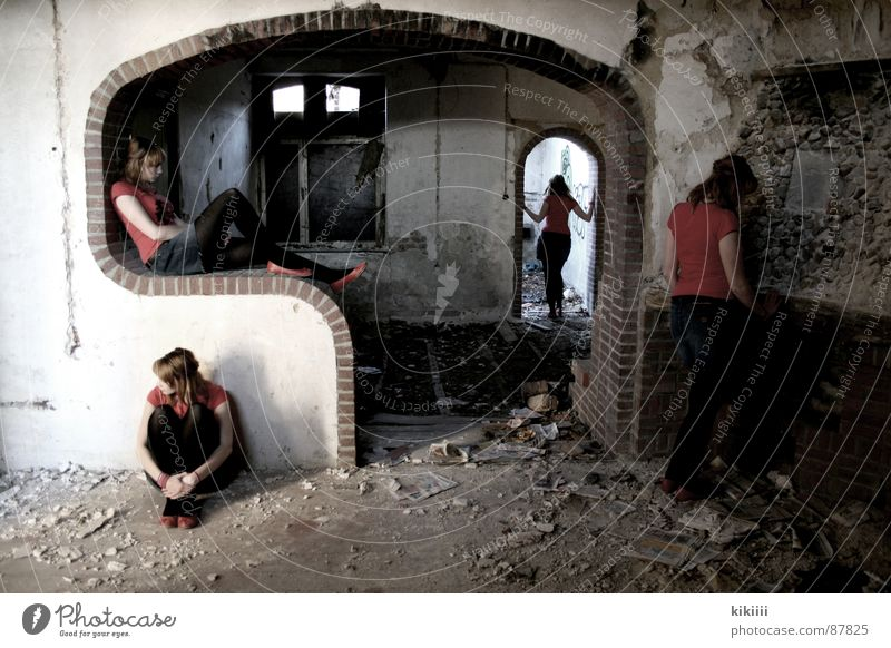 Waiting Multiple Red Broken Grief Boredom Derelict Many self portrait with tripod dilapidated house melacholia Needy