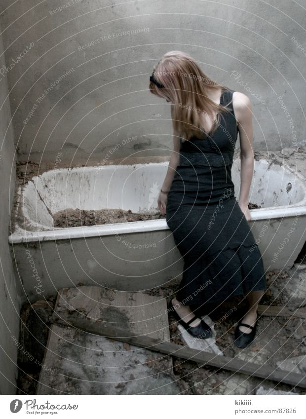 broken Bathtub Broken Blonde Dirty Grief Boredom Derelict black dress Destruction
