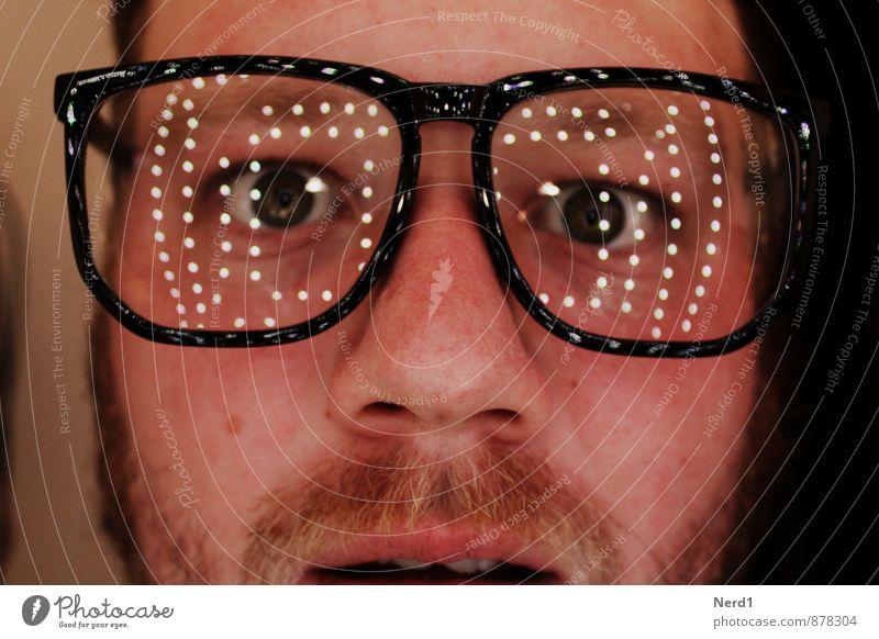 Human being Eyes Glittering Masculine Fear Crazy Eyeglasses Curiosity Facial hair