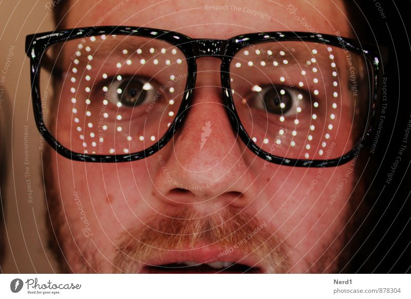 What? Human being Masculine Eyes Facial hair 1 Glittering Curiosity Crazy Fear Eyeglasses Light (Natural Phenomenon) Reflection Interior shot Isolated Image