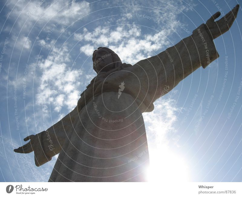 Christo Rei Jesus Christ Statue Monument Clouds Sculpture Landmark House of worship Peace Sky Arm Sun blessing messiah