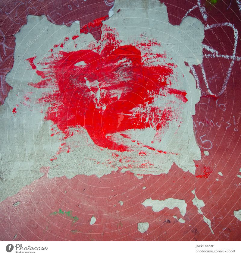 Absolute red symbolically colored by brush strokes luck Subculture Street art Layer of paint Concrete Graffiti Firm Red Euphoria Love Romance Longing