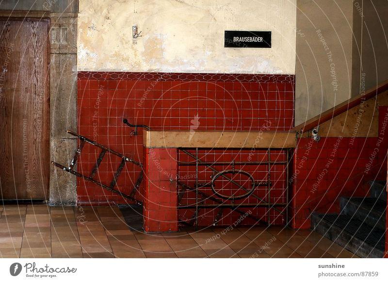 Old Red Swimming pool Tile Derelict Moving (to change residence) Ladder Stepladder