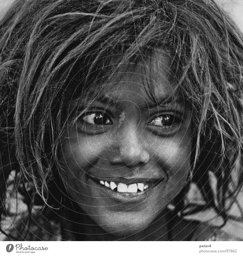 Human being Child Girl Face Eyes Emotions Happy Laughter Hair and hairstyles Teeth Clean Analog Foreign Strand of hair Homeless