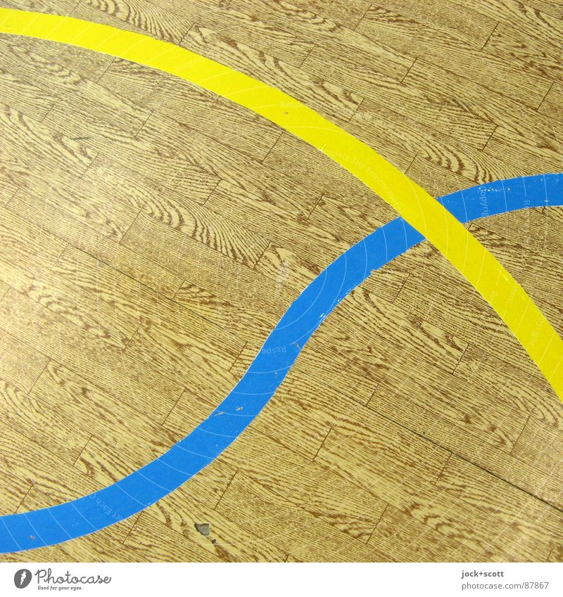 blue / yellow, lines on imitation wood Line Cross Playing field Meeting point Second-hand Line width Connect Curve Axle Arch GDR PVC Imitation wood Detail