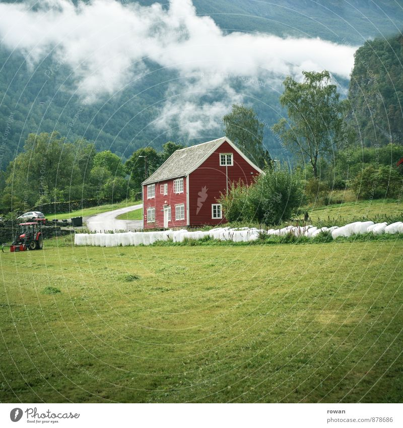 Nature Old Red Landscape Clouds House (Residential Structure) Environment Meadow Field Living or residing Idyll Agriculture Apartment Building Tradition Norway