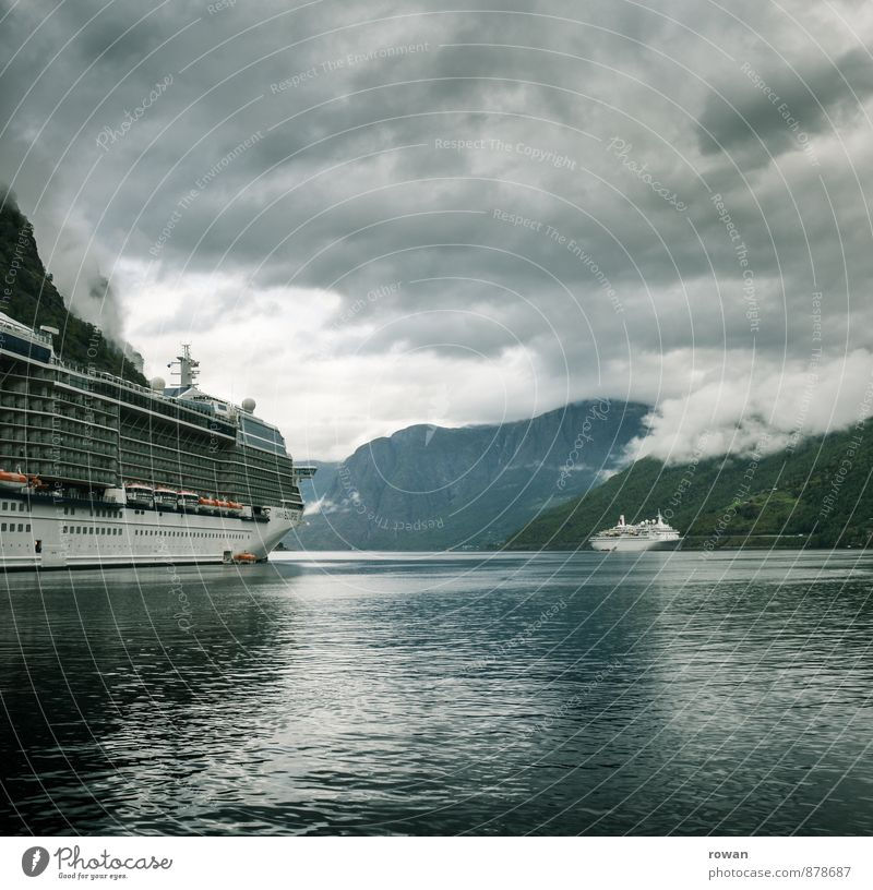 fjord Nature Landscape Storm clouds Forest Relaxation Cold Green Vacation & Travel Fjord Norway Vacation in Norway Trip Cruise liner Ocean Subdued colour