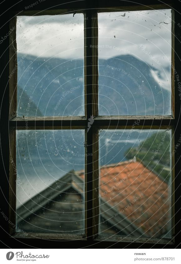 prospect Living or residing Flat (apartment) House (Residential Structure) Landscape Mountain Fjord Window Looking View from a window Vantage point Norway Old