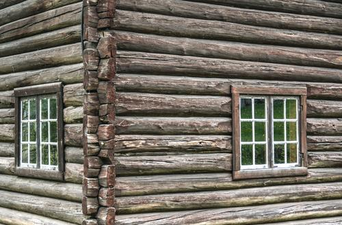 log cabin House (Residential Structure) Detached house Hut Manmade structures Building Architecture Window Old Wooden house Wooden wall Wooden structure Corner