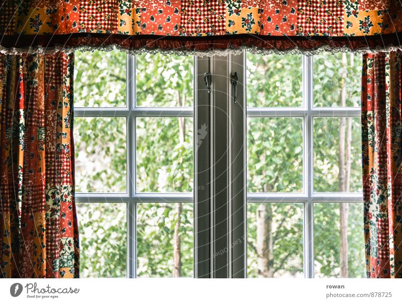 window into the green Living or residing Flat (apartment) Garden Interior design Decoration House (Residential Structure) Window Drape Curtain Green Tree