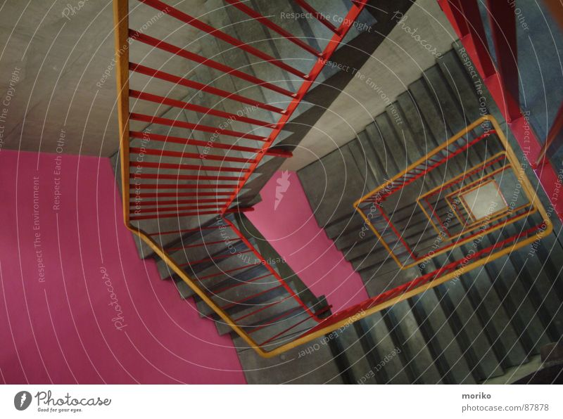 Stairs up, stairs down,... Staircase (Hallway) Red Pink Gray Brown Wood Banister Rectangle Go up Climbing To board Ascending Descent Spiral Vertigo Modern Deep