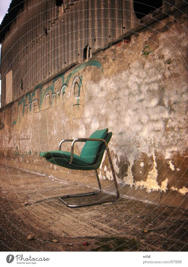 abandoned designer II Bum around Putrefy Designer Cantilever chair Furniture Green Freight station No admittance Harmful Loneliness Cozy Decompose Derelict