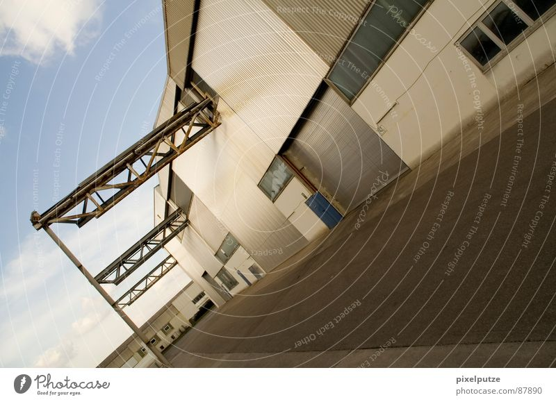 Warehouse Street. Wholesale trade Factory hall Logistics Shopping center Industrial district Entrance Escape Abstract Graphic Physics Style Power Access