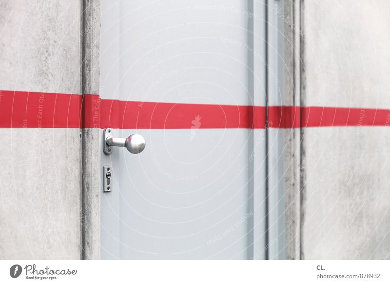 This far and no further House (Residential Structure) Wall (barrier) Wall (building) Door Door handle Line Red Perspective Stagnating Divide Target Barrier