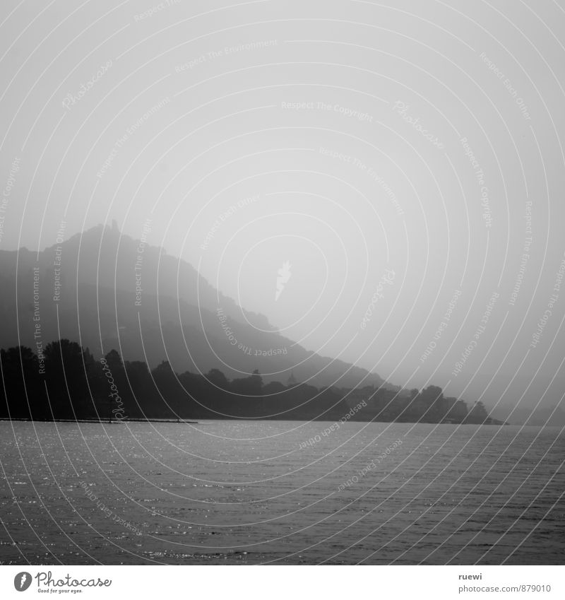 City White Water Summer Landscape Black Mountain Autumn Coast Gray Horizon Rock Glittering Fog Tourism Tall