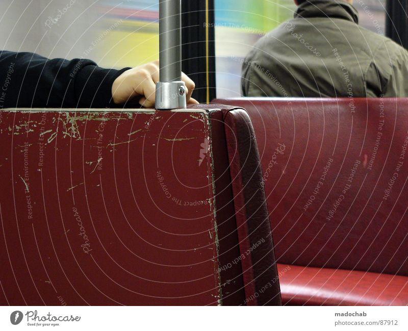 Human being Man Hand Red Loneliness Window Arm Open Sit Wait Masculine Driving Observe Logistics Jacket Underground