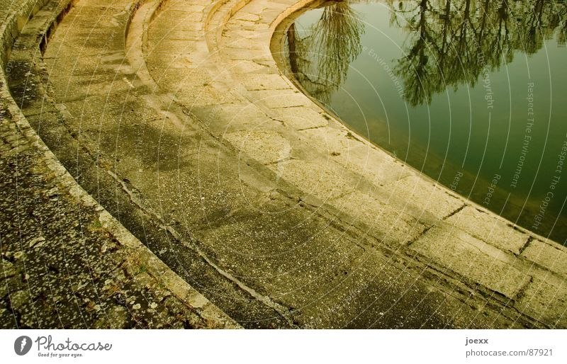 steps into the depth Water level Remote Treetop Loneliness Hope Career Pebble Edge Doomed Resign Derelict Detail Amphitheatre Curve Resume Stone Deep