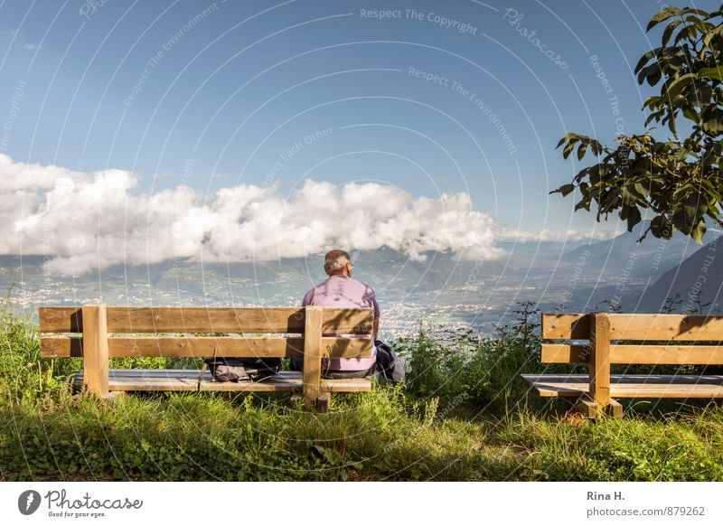 Human being Sky Nature Vacation & Travel Man Summer Loneliness Relaxation Landscape Calm Clouds Far-off places Mountain Senior citizen Horizon Sit