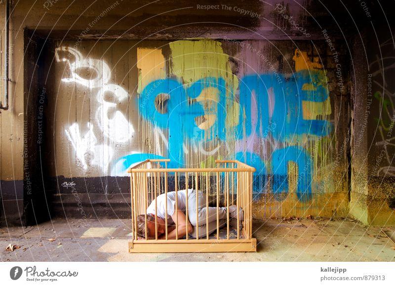no gambling Human being Masculine Child Man Adults Body 1 Graffiti Sleep Cot Bedroom Playing Barn Grating lattice bars Enclosed Loneliness Freedom Play instinct