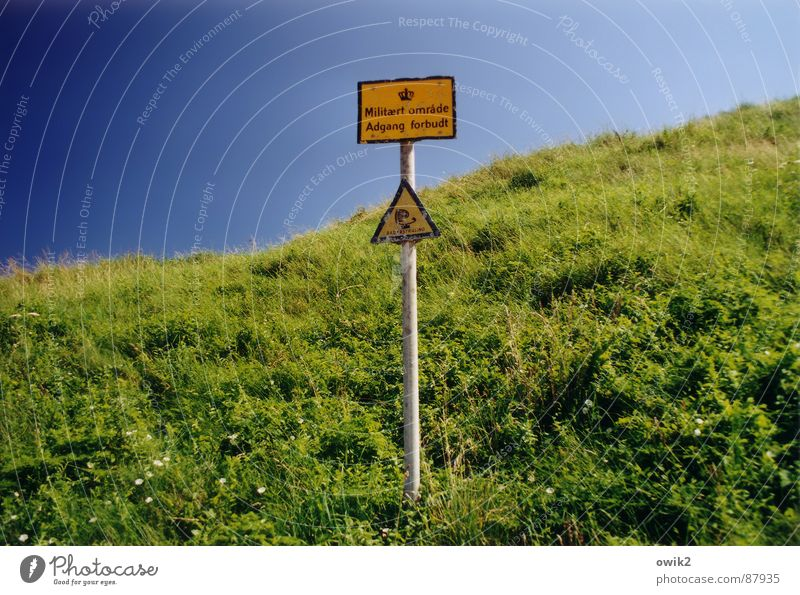 Vacation & Travel Far-off places Meadow Grass Freedom Horizon Military Signs and labeling Dangerous Characters Signage Warning label Summer vacation