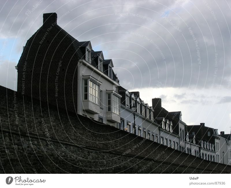 Locomotive Maastricht Housefront Engines Netherlands Black House (Residential Structure) Wall (barrier) Clouds Railroad Historic Europe Living or residing Sky