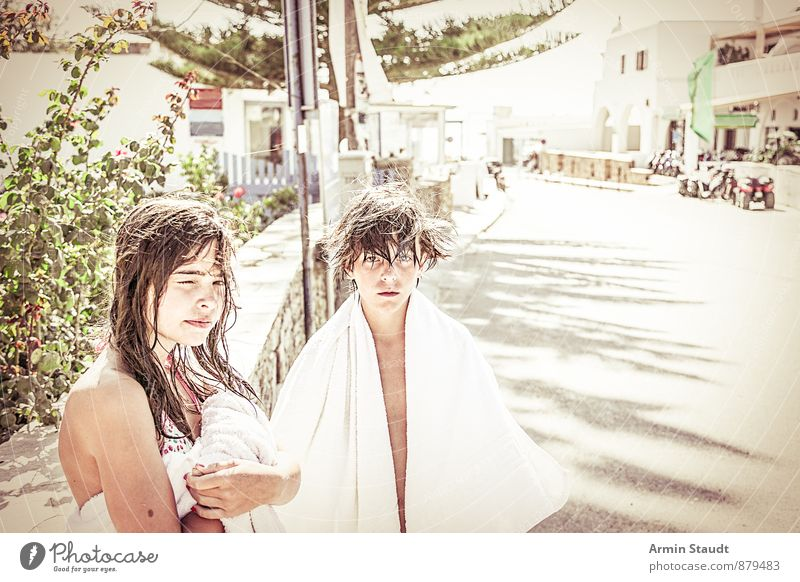 After the bath Lifestyle Hair and hairstyles Vacation & Travel Summer vacation Human being Masculine Feminine Youth (Young adults) 2 13 - 18 years Child Greece