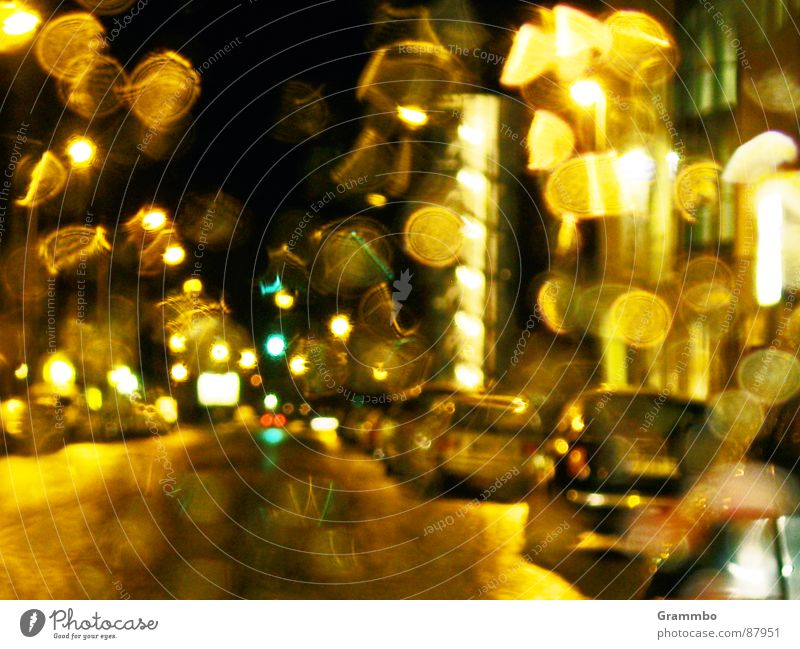it doesn't get greener Night Window Wet Traffic light Red Green Rain Transport Car Evening Window pane Sadness