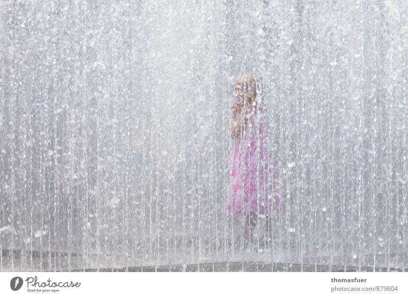 Human being Child City Water Summer Girl Joy Feminine Playing Swimming & Bathing Park Infancy Wet Joie de vivre (Vitality) Clean Dress