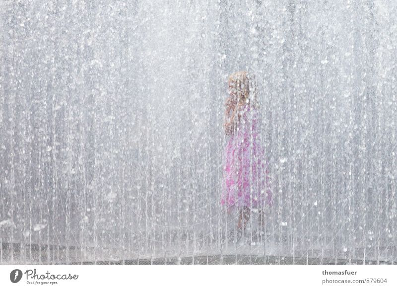 Summer in the city Swimming & Bathing Playing Human being Feminine Child Girl 1 3 - 8 years Infancy Town Park Dress Water Joy Joie de vivre (Vitality)