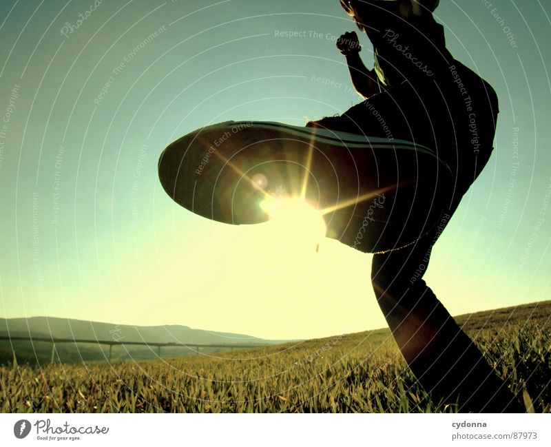 KICK IT BACK Footstep Illuminate Meadow Grass Green Style Sunset Posture Blade of grass Sunglasses Sunlight Kick Chucks Worm's-eye view Emotions Human being Sky