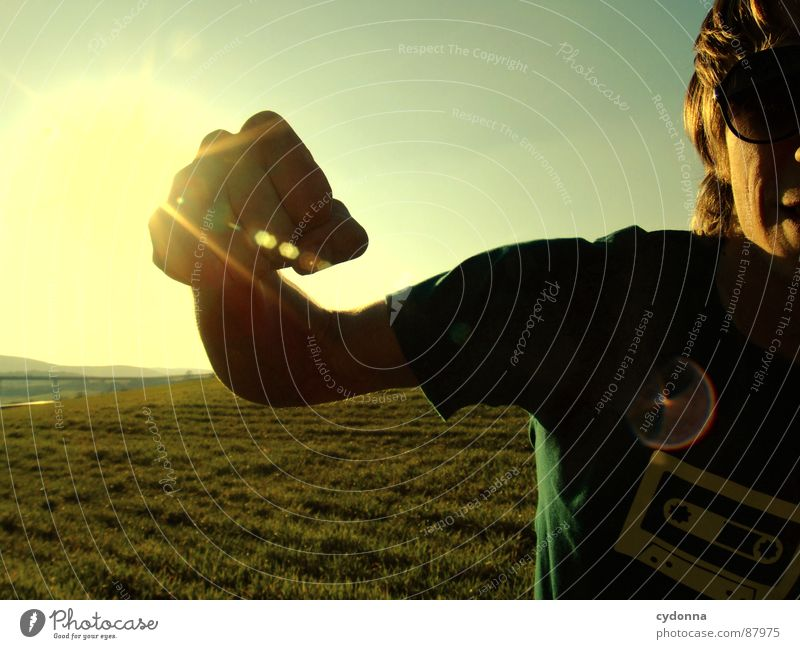 Human being Sky Nature Green Sun Joy Landscape Meadow Emotions Freedom Warmth Grass Style Power Arm Posture