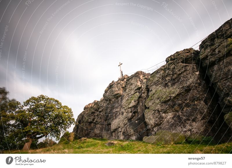 Sky Green Tree Landscape Clouds Dark Autumn Grass Gray Brown Rock Wind Peak Crucifix Bad weather Nature reserve