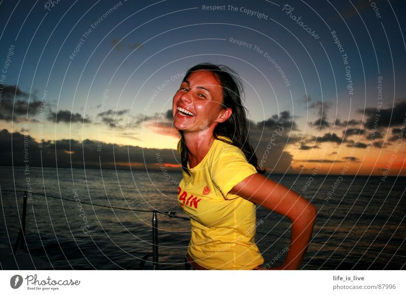 Woman Water Sky Ocean Joy Vacation & Travel Freedom Laughter Watercraft Uniqueness Joie de vivre (Vitality) Grinning Australia Enthusiasm Sailing ship Good mood
