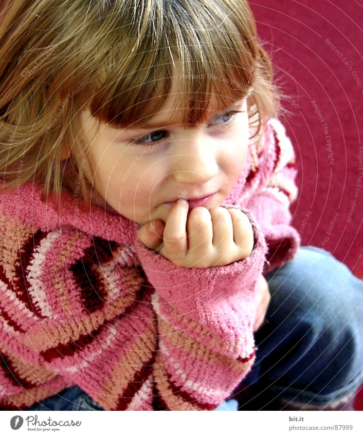 Girl Child Blonde Meditative Cute Toddler Positive Bangs Section of image Partially visible Children`s hand Dearest Face of a child Wool sweater 1 - 3 years