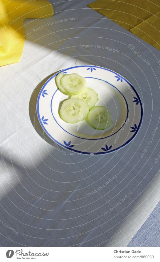 Good cucumbers Food Nutrition Organic produce Vegetarian diet Crockery Plate Wellness Senses Relaxation Calm Yellow White Cucumber Slices of cucumber Tablecloth