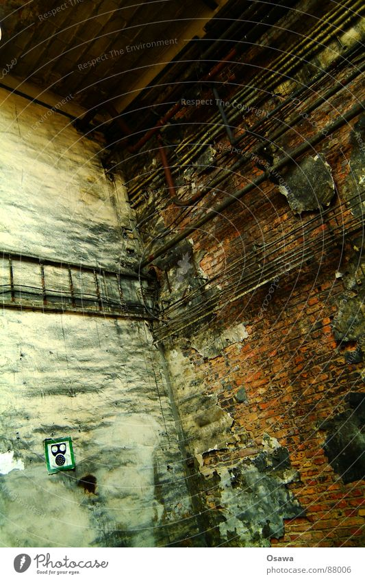 Wall (barrier) Dirty Industrial Photography Factory Derelict Pipe Warehouse Transmission lines Vacancy Respirator mask