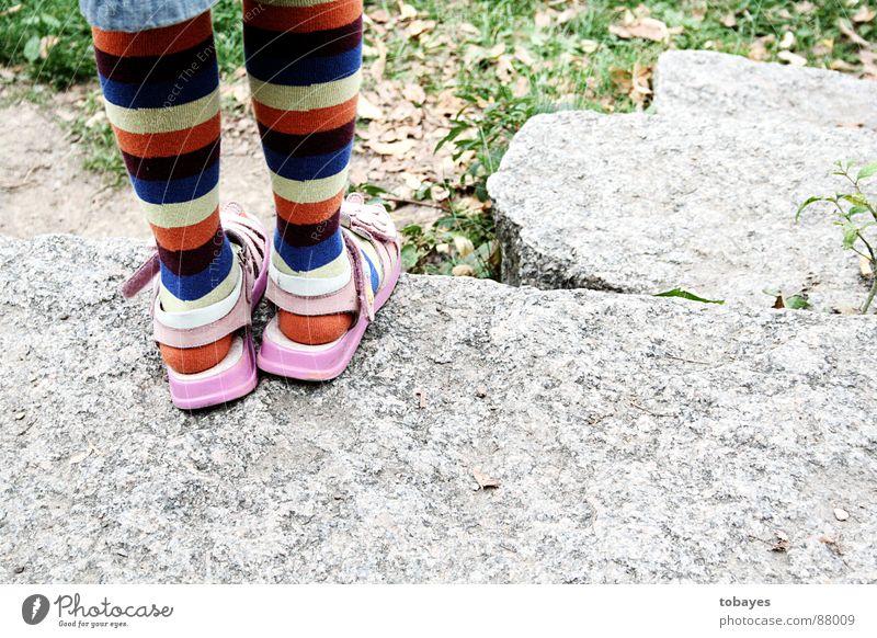 Child Feet Legs Pink Stockings Sock Striped socks