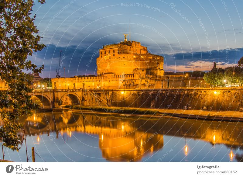 Castel Sant'Angelo at Night Sightseeing Town Church Castle Architecture Tourist Attraction Old Historic Beautiful Blaue Stunde Kirche Traveling