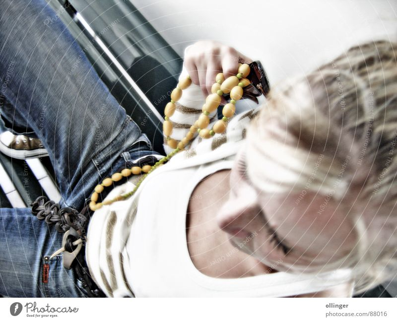Woman Blonde Jeans Bench Lady Jewellery Denim Top Perspective Necklace