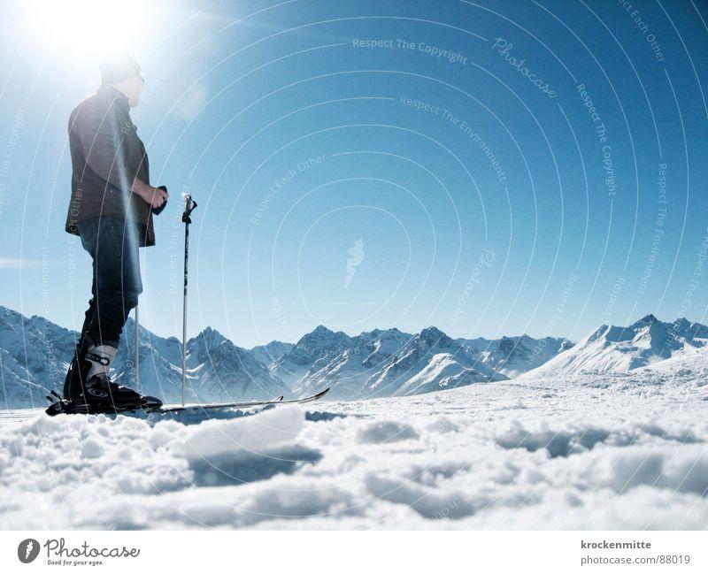 Sky Sun Cold Snow Mountain Wait Skiing Jeans Level Switzerland Sunbathing Skier Winter sports Snowflake Mountain range Alpine
