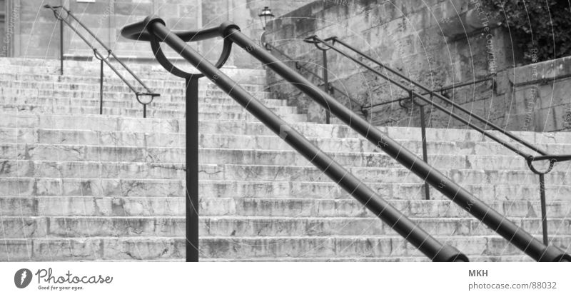 Plant Black Stone Wall (barrier) Line Stairs Corner Gloomy Steel Traffic infrastructure Curve Handrail Go up Arch Parallel