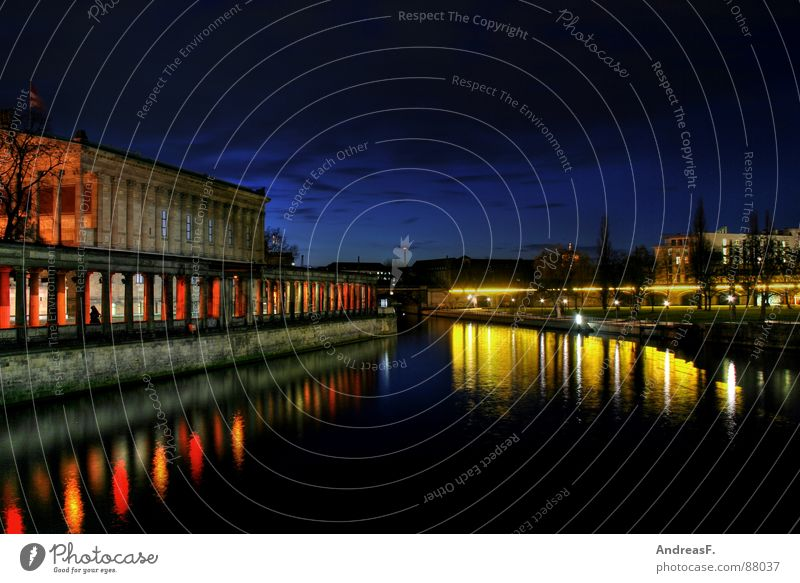 Water Yellow Berlin River Historic Column Museum Dome Downtown Berlin Capital city Night shot Spree Museum island Berlin Cathedral