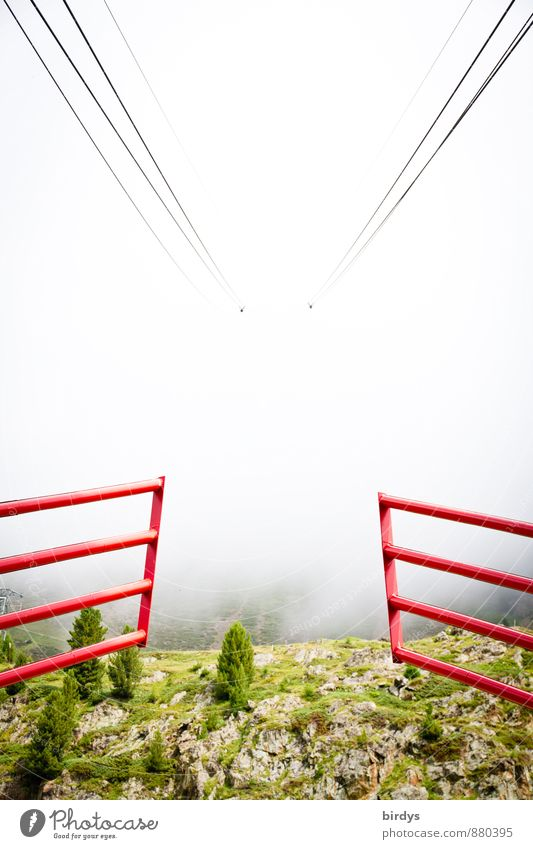 Gondola ride into the unknown Cable car Barrier Gate Nature Spring Summer Autumn Fog Wild plant Mountain Steel cable Esthetic Exceptional End Crisis Risk