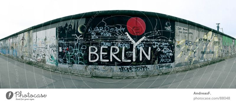 Berlin Wall (barrier) Art Large Monument GDR Landmark East Panorama (Format) Capital city Reunification Soviet Union The Wall Ossi Soviet zone Eastside Gallery