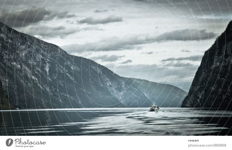 Nature Water Loneliness Landscape Calm Cold Environment Mountain Coast Gray Rock Waves Hill Bay Navigation Norway