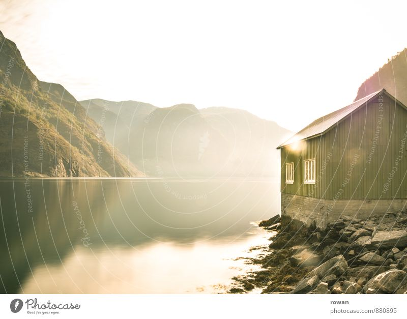 boathouse Vacation & Travel Adventure Far-off places Flat (apartment) House (Residential Structure) Hill Mountain Coast Bay Fjord Ocean Dream house Hut