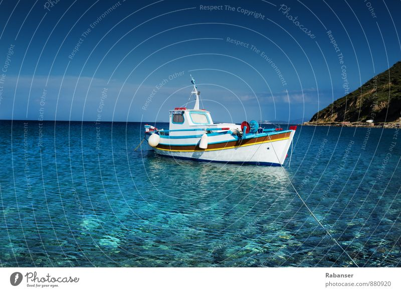 fishing boat Navigation Boating trip Fishing boat Infinity Historic Blue White Watercraft Ocean Greece Horizon Heaven Fishing (Angle) Anchoring ground Deserted