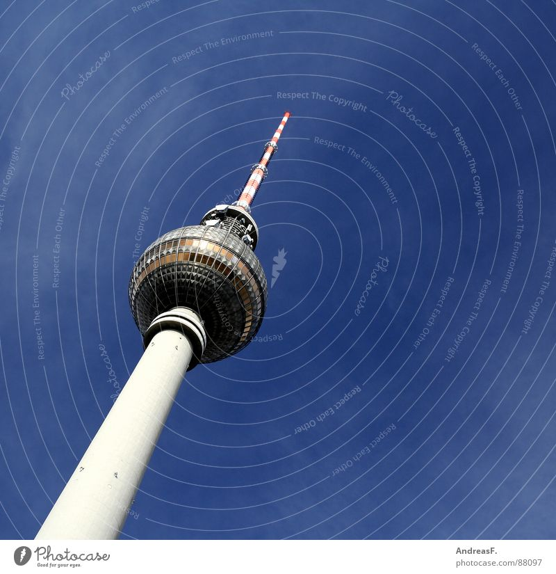 Sky Beautiful Berlin Germany Tower Television Middle Beautiful weather Monument Landmark GDR Capital city Berlin TV Tower Antenna Blue sky Alexanderplatz