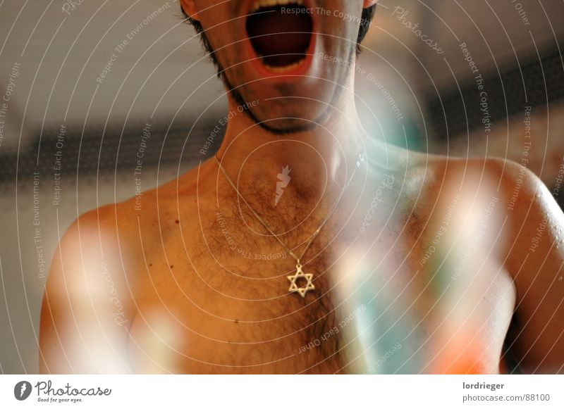 Human being Man Colour Religion and faith Art Wait Mouth Bathroom Teeth Mirror Pain Scream Necklace Mirror image Pierce Torso